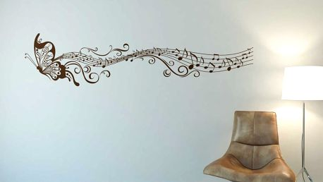 Motýl s notami - samolepka na zeď Hnědá 100 x 25 cm