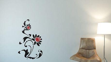GLIX Květinová dekorace - samolepka na zeď Černá a červená 50 x 85 cm