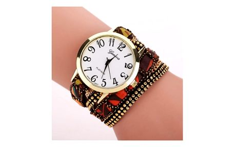 Vícevrstvé hodinky s řetízkem v mnoha barvách - hnědá - dodání do 2 dnů
