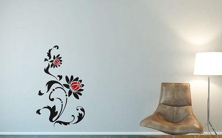 Květinová dekorace VI. - samolepka na zeď Černá a červená 50 x 85 cm