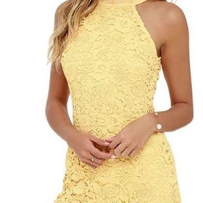 Krajkové mini šaty s obojkem - 4 barvy