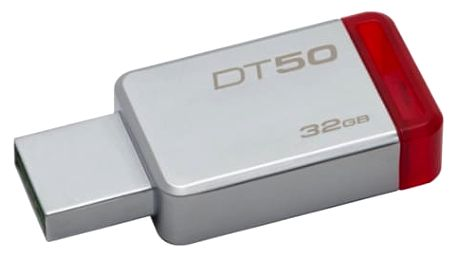 USB Flash Kingston 32GB (DT50/32GB) červený/kovový