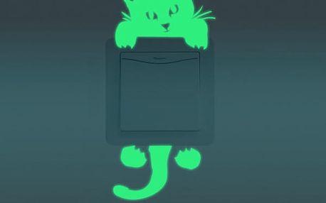 Svítící samolepka na vypínače - kočka - dodání do 2 dnů