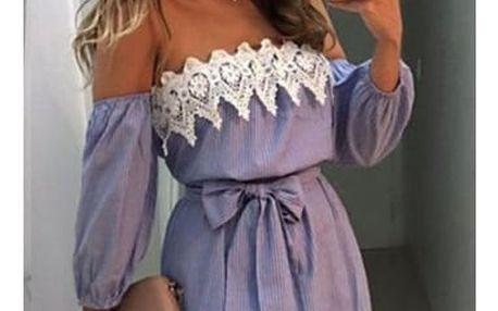 Romantické proužkované šaty s krajkou a páskem