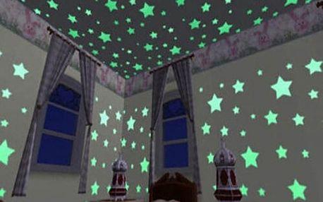 Svítící fosforové hvězdičky na zeď ve více barvách
