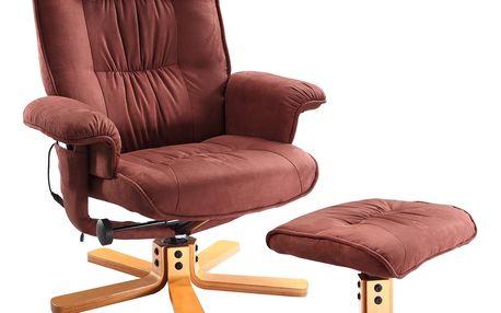 Relaxační masážní křeslo s podnožkou hnědé Idea