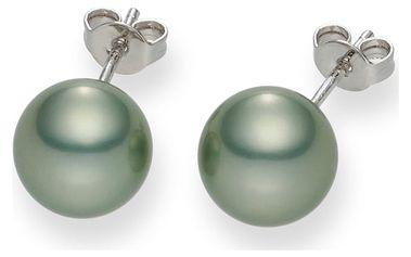 Světle zelené perlové náušnice Pearls Of London Mystic