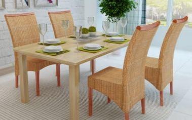 Sada 4 ratanových jídelních židlí ručně vyplétaných s dekorativní lištou V2035 Dekorhome