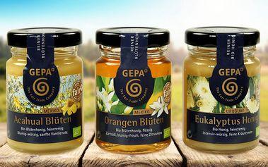 Dárkové balení tří bio medů zdobené stuhou