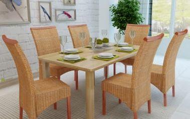Sada 6 ratanových jídelních židlí ručně vyplétaných s dekorativní lištou V2036 Dekorhome