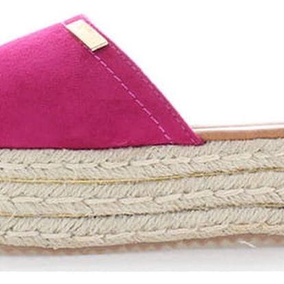 Fuchsiové platformové pantofle Tamara