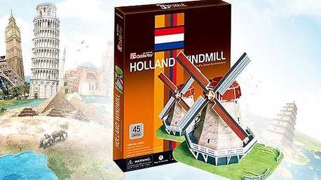 3D puzzle - Větrný mlýn v Nizozemsku