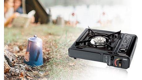 Přenosný plynový vařič v kufříku na cesty nebo náplň