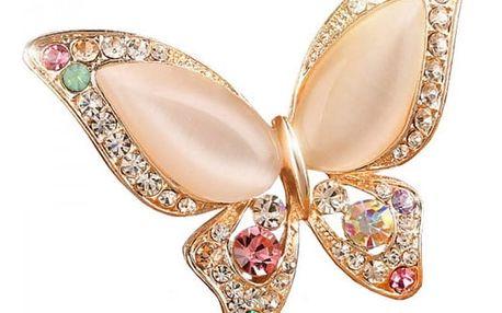 Brože v podobě motýla s kamínky - 3 barvy