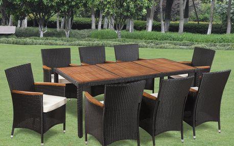 Zahradní ratanový nábytek černý, 8 židlí a stůl V1305 Dekorhome