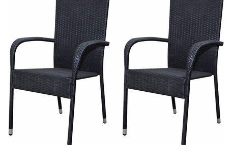 Ratanový černý set židlí 2 ks V0927 Dekorhome