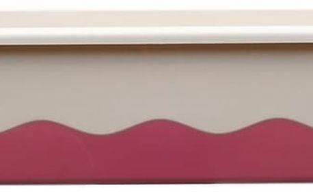 Plastia Samozavlažovací truhlík Mareta 60 cm, bílá + vínová