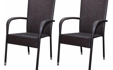 Ratanový hnědý set židlí 2 ks V0928 Dekorhome