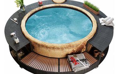 Černá ratanová obruba bazénu V1454 Dekorhome