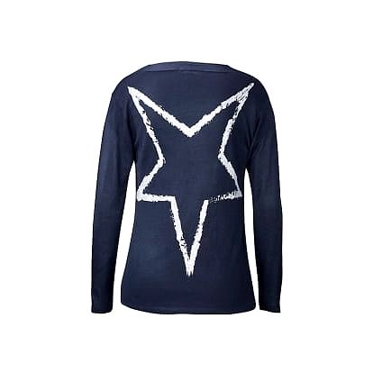 Dlouhý jemný svetr s šálovým límcem, tmavě modrý, vel. l