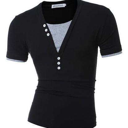 Pánské tričko s výstřihem do V a knoflíčky