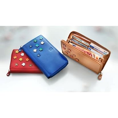 """H.i.s. dámská kožená peněženka """"flower"""", barva chilli"""