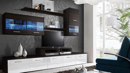 Obývací stěna LOGO II, wenge/wenge a bílý lesk