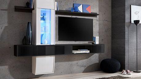 Obývací stěna COMET II, bílá a černá matná/bílý a černý lesk