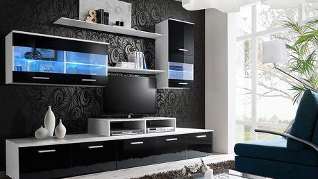 Obývací stěna LOGO II, bílá matná/černý lesk