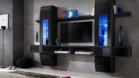 Obývací stěna COMET I, černá matná/černý lesk