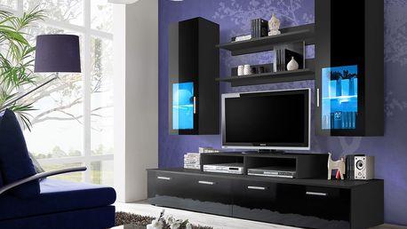Obývací stěna MINI, černá matná/černý lesk