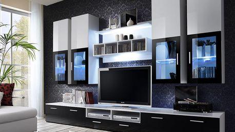 Obývací stěna LYRA, bílá matná/bílý a černý lesk