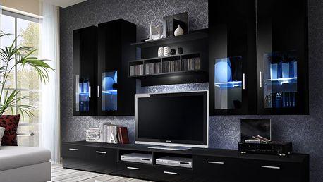 Obývací stěna LYRA NIGHT, černá matná/černý lesk