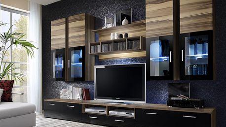 Obývací stěna LYRA, baltimore/baltimore a černý lesk