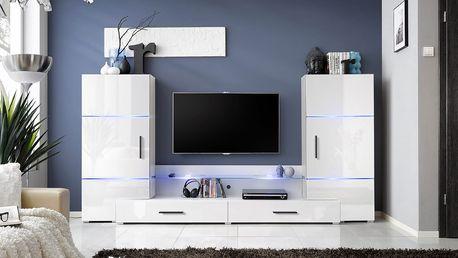 Obývací stěna TOWER, bíla matná/bílý lesk