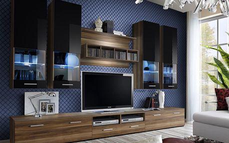 Obývací stěna DORADE, švestka/švestka a černý lesk