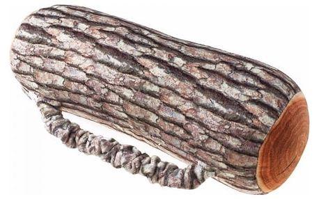 Polštář v podobě dřevěného polena s popruhem