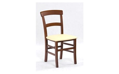Dřevěná židle Tapo antická třešeň - krémová (eko kůže)