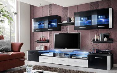 Obývací stěna ZOOM, černá matná/černý a bílý lesk