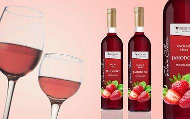 6 lahví polosladkého jahodového vína