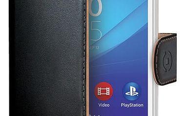 CELLY Wally pouzdro pro Sony Xperia M4 Aqua, PU kůže, černá - WALLY481