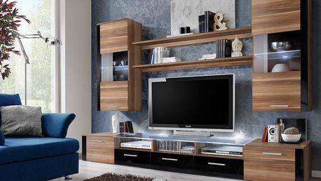 Obývací stěna FRESH, švestka/švestka a černý lesk