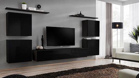 Obývací stěna SWITCH IV, černá matná/černý lesk