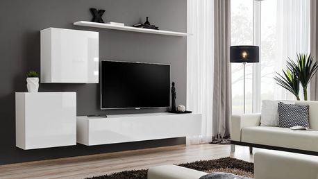 Obývací stěna SWITCH V, bílá matná/bílý lesk