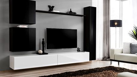 Obývací stěna SWITCH VIII, černá a bílá matná/černý a bílý lesk