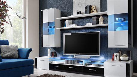 Obývací stěna FRESH, bílá matná/černý a bílý lesk