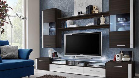 Obývací stěna FRESH, wenge/wenge a bílý lesk
