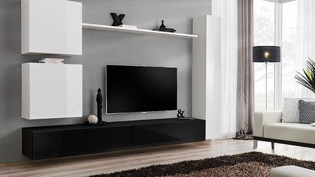Obývací stěna SWITCH VIII, bílá a černá matná/bílý a černý lesk