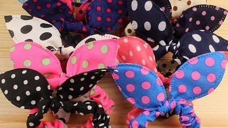 Roztomilé gumičky s oušky a puntíky - 10 kusů