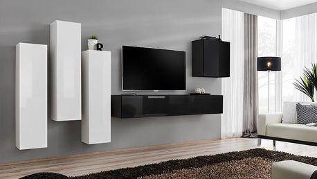 Obývací stěna SWITCH III, bílá a černá matná/bílý a černý lesk